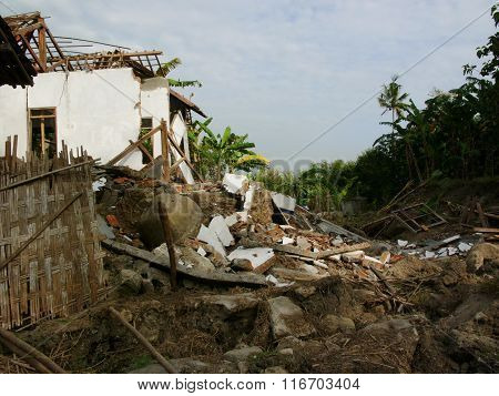 Village houses destroyed by the May 29 2006 Yogyakarta earthquake in Java, Indonesia