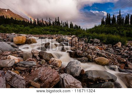 Rainbow On A Mountain Stream