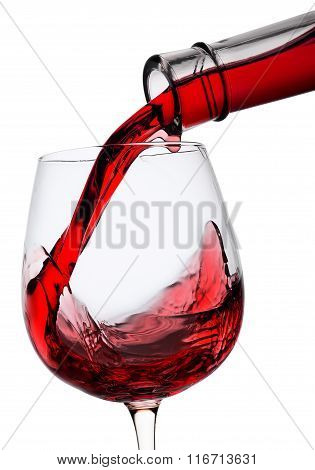 Red wine poured in a glass