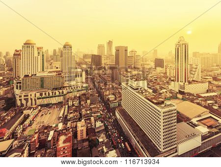 City At The Misty Sunset In Bangkok, Thailand.