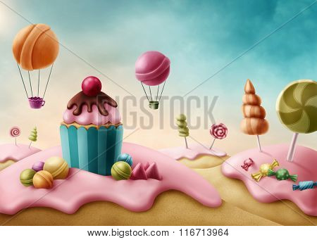 Fantasy candyland with cupcake and bonbons