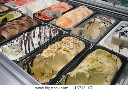 Gelato, Italian ice cream counter
