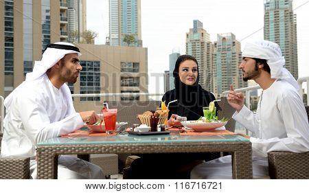 Emirati arab family dining