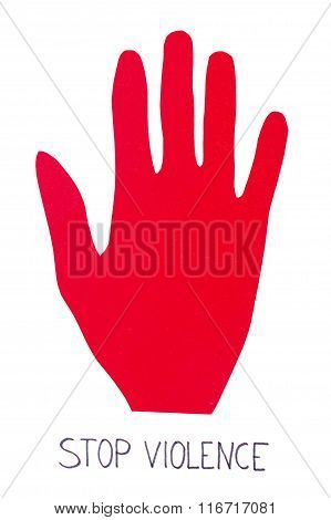 Hand Of Red Paper Showing Stop Sign, Stop Violence