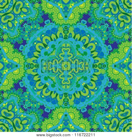 Seamless Tiled Pattern Royal Luxury Classical Damask Vector Design. Blue Green Bright Background.