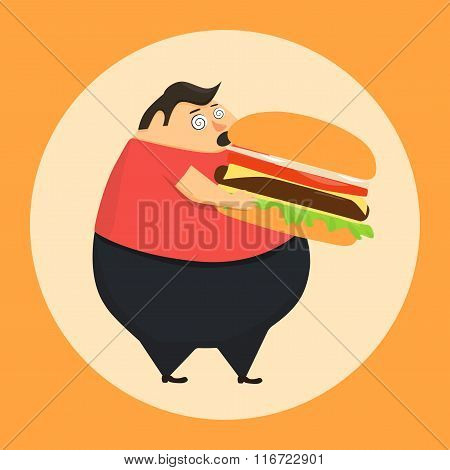 Fat man in state of hypnosis eat burger