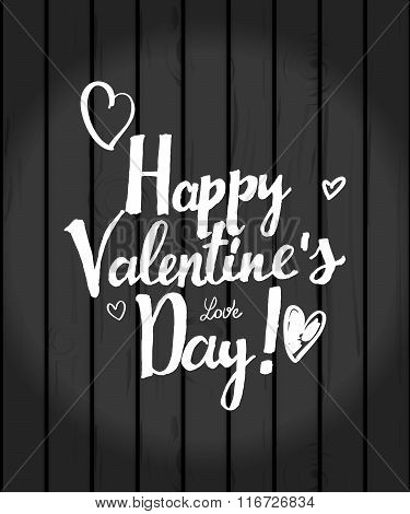 Valentine's Day Inscription On Wooden Background