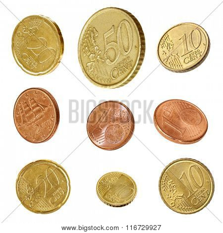 Euro coins collection, isolated on white.  Angled one, two, five, ten, twenty and fifty Cent coins.
