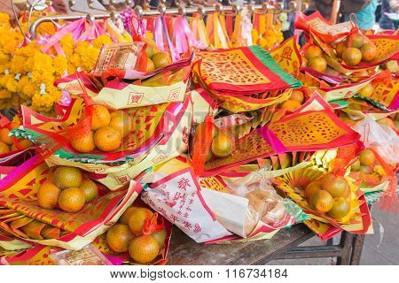 Pattern of Joss Paper and Orange , Chinese or Lunar new year for Sacrificial offering Chinese Cultur