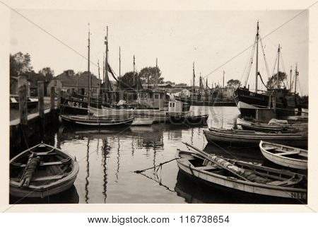Vintage Photo: Fishing Vessels In Wismar Port
