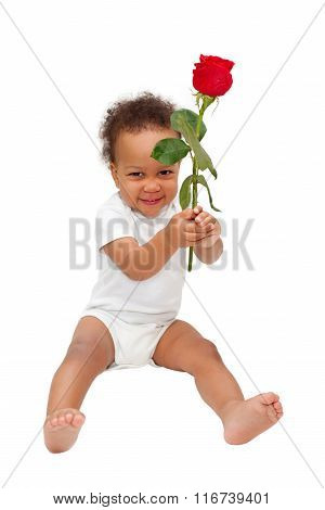 Black Baby Presenting Flower Rose.