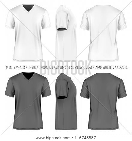 Men's short sleevev-neck t-shirt . Front, side and back views. Vector illustration. Fully editable handmade mesh. Black and white variants.