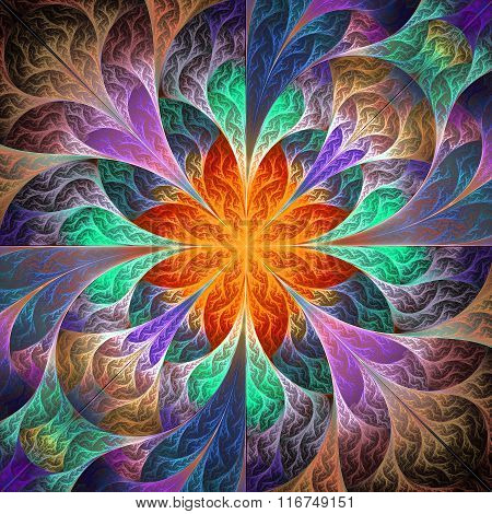Beautiful Fractal Flower. Element Of Design. Artwork For Creative Design, Art And Entertainment.