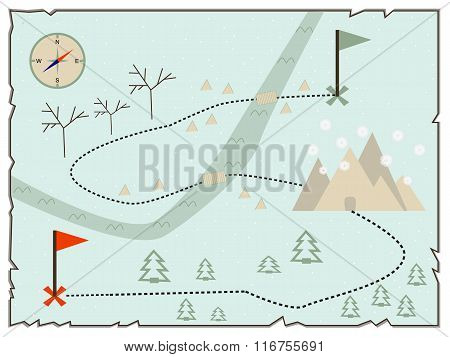 Map of treasure island (treasure map old map baby map illustration of the winter maps to find treasure treasure map showing winter island with present and compass star) poster
