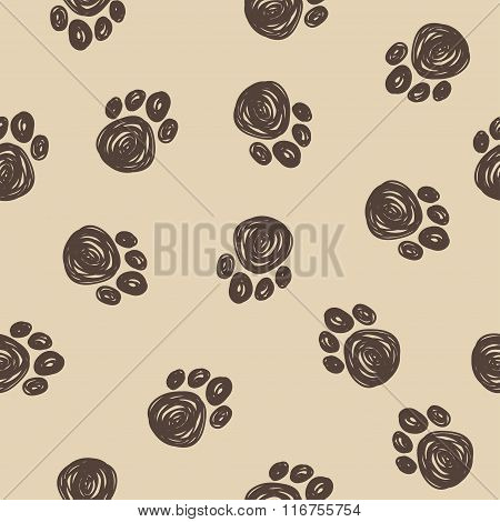 Doodle Dog Tracks Seamless Pattern Background. Hand Drawn Simple Picture