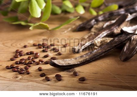 Carob Pods with Seeds