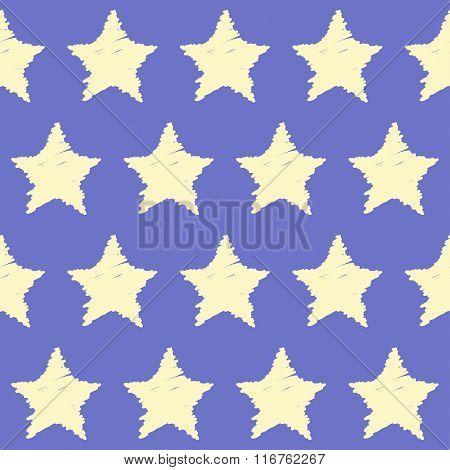 Doodle seamless stars pattern background.