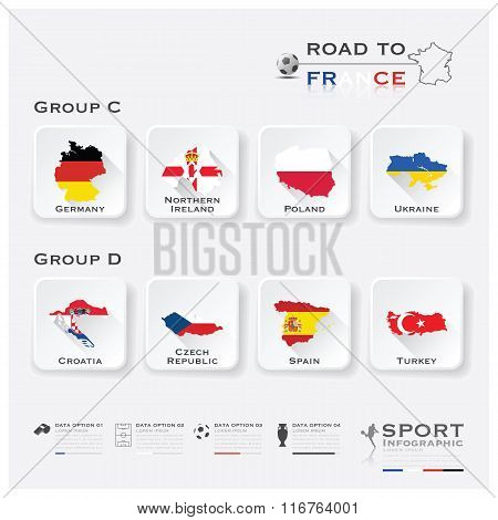 Road To France Football Tournament Sport Infographic Vector Design poster