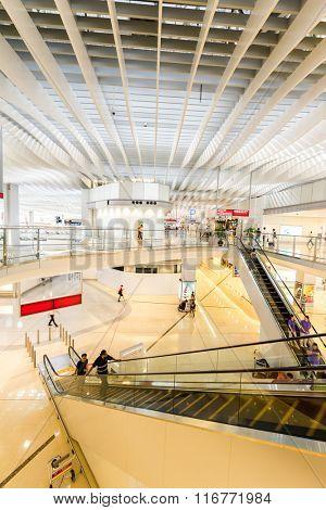 HONGKONG,CHINA - MAY 29: Interior of Hong Kong International Airport on May 29th 2015 in Hongkong. Hong Kong International Airport is one of busiest airport in the world.