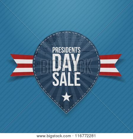 Blue Label with Presidents Day Sale Text