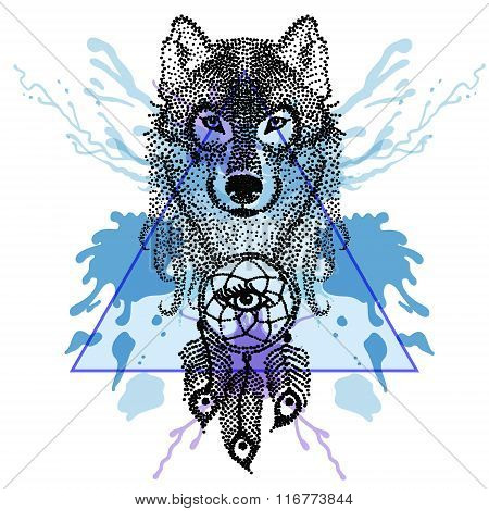 Dotwork tatoo stylized Wolf face with dreamcatcher  in triangle