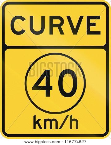 United States Mutcd Road Sign - Curve With Advisory Speed Limit