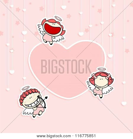 Romantic Valentine's Day card with cute cupids and space for your text or photo