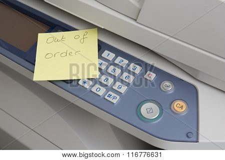 Copy Machine Out Of Order Post Illustration Design Over A White Background