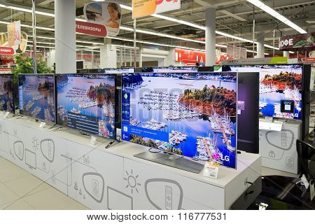 Moscow Russia - February 02. 2015. TV in Eldorado is large chain stores selling electronics and household appliances