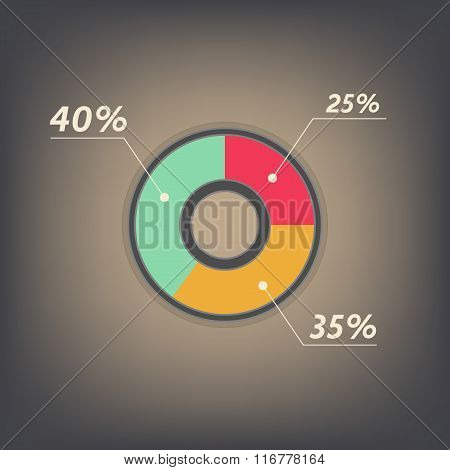Infographics Vector 25%, 35%, 40%  Red, Yellow, Green And Grey Pie Chart Isolated