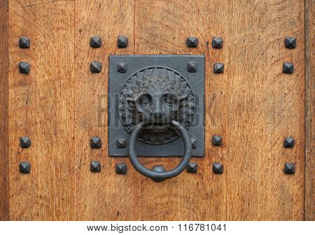 Doorknocker in the shape of a lion head holding a ring on the wooden gate.