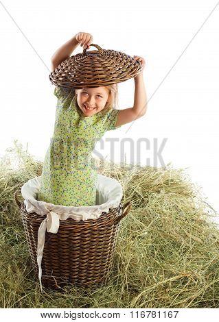 Girl in a wicker basket