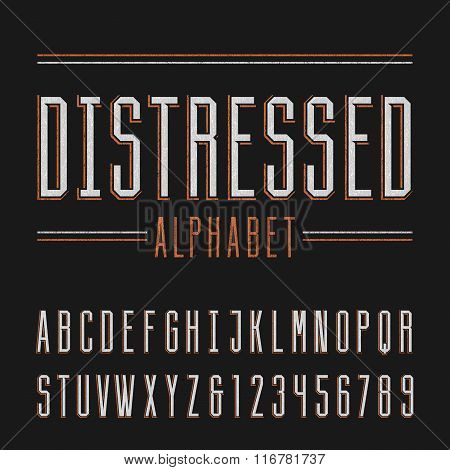 Distressed alphabet vector font.