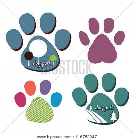 dog park or other dog logos  superimposed on dog paw print