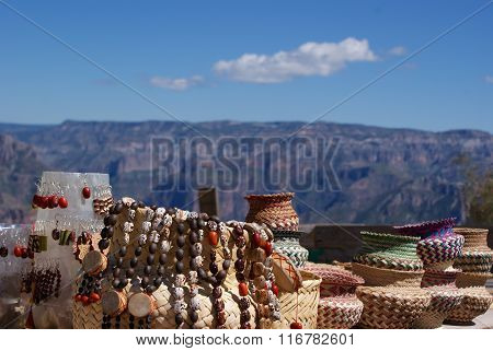 Tarahumara made souvenirs sold in the Copper Canyons Chihuahua Mexico poster