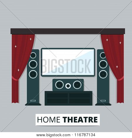 Vector flat illustration of modern home theatre with vintge red curtain. Home cinema media entertainment system.
