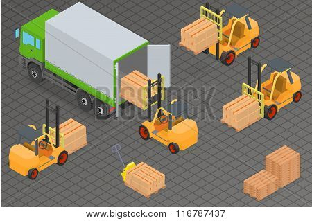 Loading or unloading a truck in the warehouse. Forklifts move the cargo. Warehouse equipment.