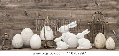 Easter Bunny And Easter Eggs. Vintage Style Decoration