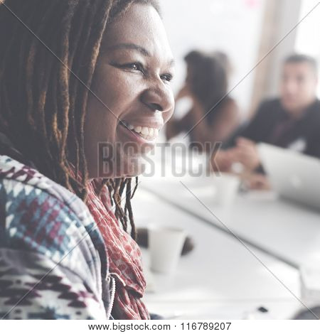 African Woman Meeting Office Concept