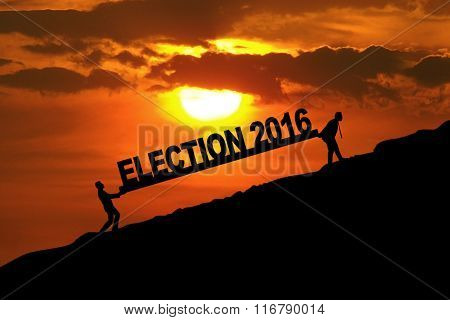 People Carrying Text Of Election 2016
