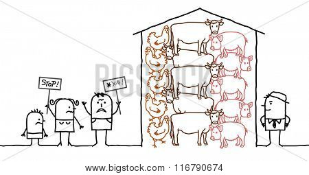 vector cartoon people saying NO to intensive  production of meat