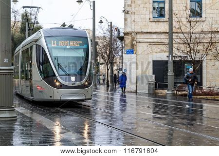 Tram On The Streets Of Jerusalem, Israel