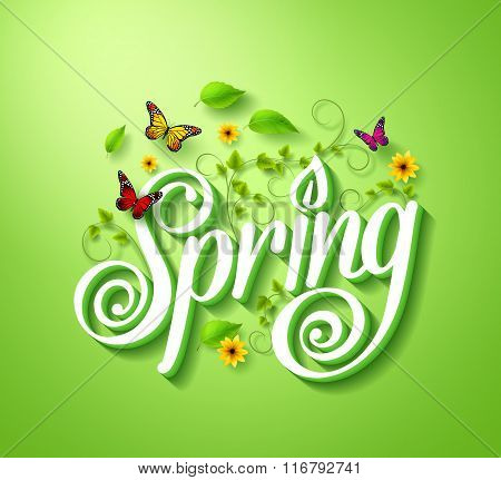 Spring Word Typography Concept in 3D with Flying Butterflies
