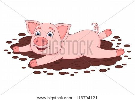 Cute pig in a puddle, funny piggy lies and smiling