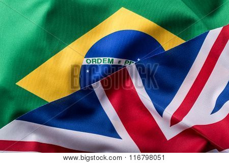 Brasil and UK. Brasil flag an UK Flag. British Union Jack flag