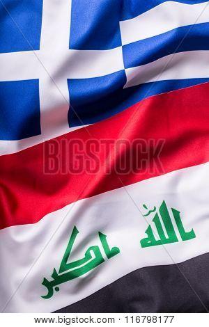 Greece and Irak. Greece and Irak flag