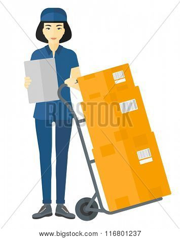 Woman delivering boxes. poster