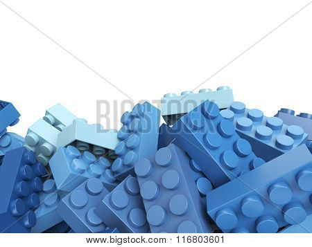 3D rendering of toy building bricks in blue shades with lots of copy space