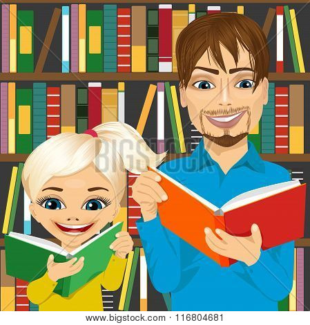 father and his daughter reading interesting books in library
