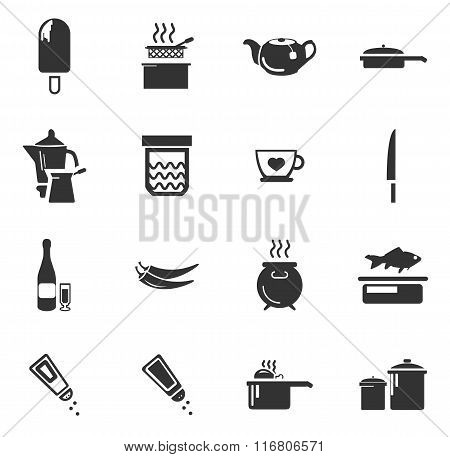Food and kitchen icons set